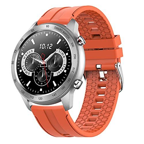 FMSBSC Smartwatch Herren, Smart Armbanduhr Herren Fitness Tracker Smart Watch Rund IP68 Wasserdicht Fitnessuhr Herren mit Pulsuhr Schrittzähler Wearable Sportuhr iOS Android Kompatibel,Orange