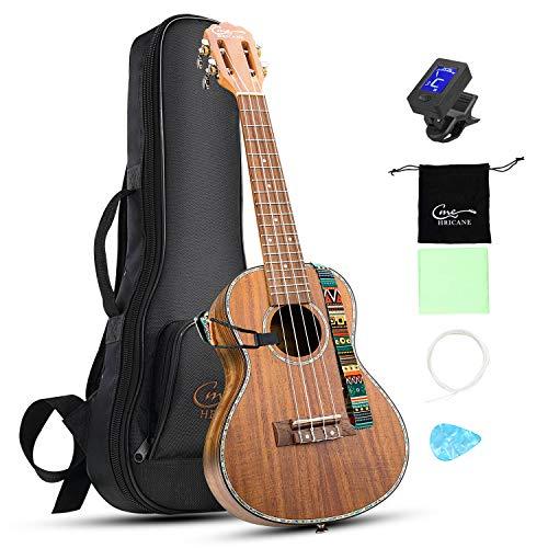 Hricane Concert Ukulele 23 Inch Koa Professional Hawaiian Ukuleles for Beginners with Gig Bag Strings