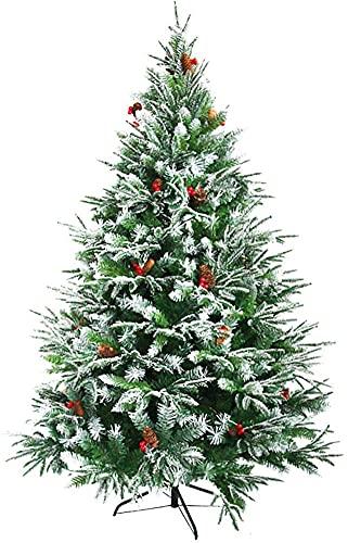 LSDRALOBPOI Weihnachtsbaum künstlich Christbaum Schneeflocke-Weihnachtsbaum mit faltbarem Metallständer und Tannenzapfen 813(Color:Green;Size:6.8ft)