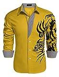 COOFANDY Mens Print Button Down Dress Shirt Fashion Long Sleeve Casual Shirts,Gold 1,Small