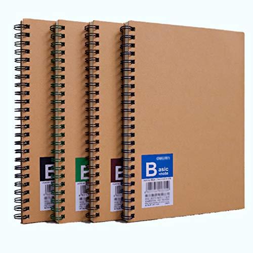 ZRL Multifuncional Journal Libreta Cuaderno Cuaderno Espiral, Pack de 4 1 Bound Cuadernos Original Kraft clásico Forrado de Trabajo del Estudiante Classic Diario (tamaño : B5 9.8''6.6'')