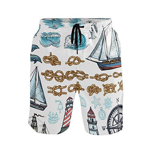 BONIPE Herren Badehose Nautiacal Segelboot Kompass Lighthouse Wave Quick Dry Boardshorts mit Kordelzug und Taschen Gr. XL, Mehrfarbig