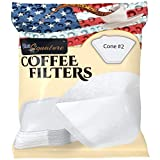 Coffee Filters #2 cone, 40 Premium pour over coffee filter White paper, for 1 cup drip & 2 to 6 cup brewers