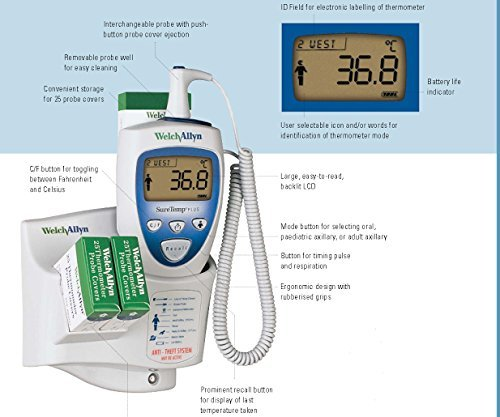 Welch Allyn 01692-200 Suretemp Plus 692 Electronic Thermometer with Wall Mount and 4 Foot Oral Probe