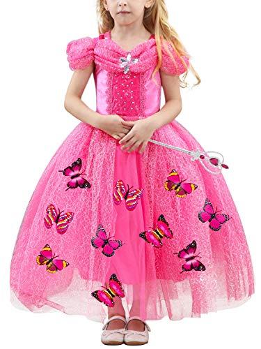 Eleasica Cosplay Cenicienta para nias Cumpleaos Princesa Cenicienta Vestido Cinderella formal Disfraz Colores Azul Rosa Amarillo Blanco Broche Regalo Mariposa Cenicienta Saln de Baile Prncipe Azul