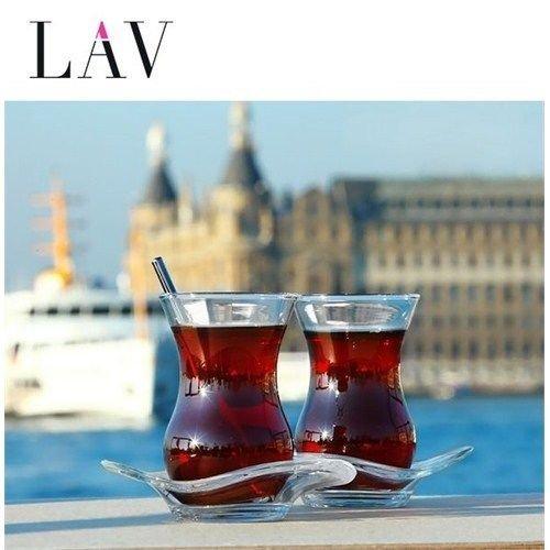 12pezzi Lav Diva Set di bicchieri Cay Bardagi Turco–servizio da tè Vetro Bicchieri