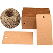 "Father's Gift Tags, 3.5"" x 1.7"" Brown Gift Tags 100 PCS Kraft Paper Gift Tag with 100 Feet Jute Twine String for Arts and Crafts, Wedding Christmas Day"