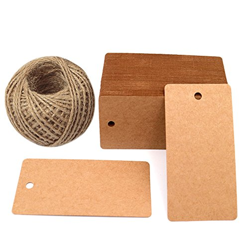 Gift Tags, 3.5' x 1.7' Brown Gift Tags 100 PCS Kraft Paper Gift Tag with 100 Feet Jute Twine String for Arts and Crafts, Wedding Christmas Day