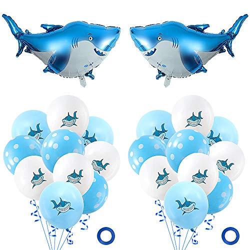 MOOKLIN ROAM 24pcs Kit Globos de Tiburón, Globos de cumpleaños Globos Brillantes de Helio con 2pcs Globo de Shark, 20pcs Globos de Látex Azul Blanco y 2 Cintas para Niños Fiesta Decoración Navidad