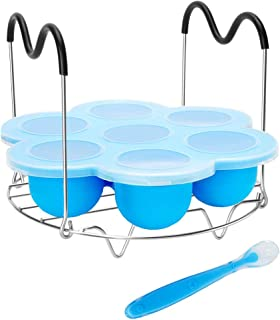 Pressure Cooker Accessories with Silicone Egg Bites Mold and Steamer Rack Trivet with Heat Resistant Handles Compatible with Instant Pot Accessories 6 Qt 8 Quart, 2 Pcs with 1 Bonus Spoon (Blue)