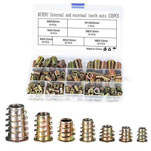 BITEFU 135 Stück Einschraubmutter M4 M5 M6 M8 M10 Eindrehmuffen,Hex Gewindeeinsatz Antriebsmutter Sortiment Werkzeug Kit für Holz Möbel