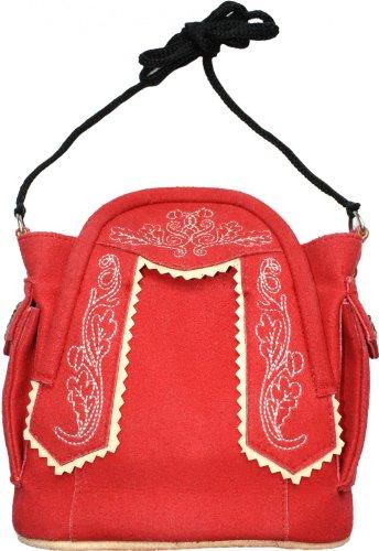 German Wear Damen Handtasche Trachtentasche Dirndl Taschen Trachten Leder-Imitat, Frabe:Rot