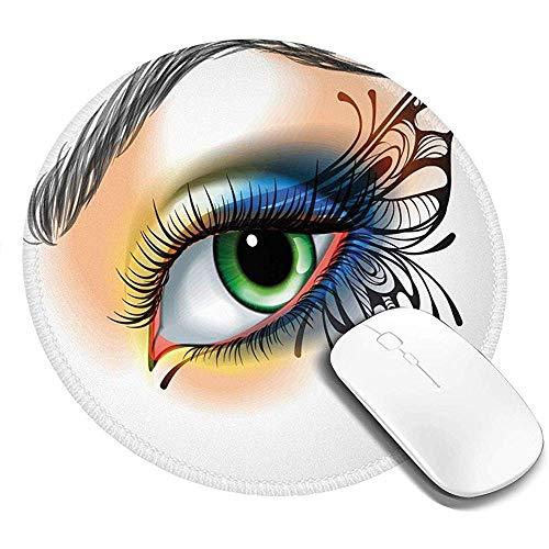 Alfombrilla de ratón Redonda, Maquillaje de Ojos Fantasy Womans ala de Mariposa...