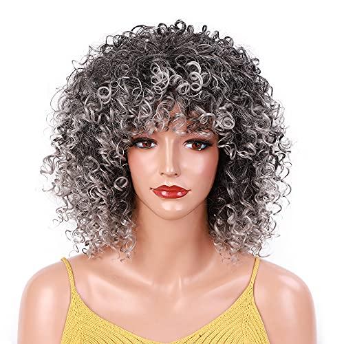 Pelucas rizadas para mujeres negras, peluca corta afro rizada con flequillo Pelucas completas resistentes al calor sintético para mujeres africanas (gris)