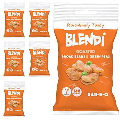 Blendi Snacks Saludables Bajos en Calorías - Aperitivos Sin Gluten, Altos en Proteína Vegana y Fibra - Habas y Guisantes Tostados Crujientes, Sabor BBQ - 6 x 35g Bolsas de Aperitivos Gourmet