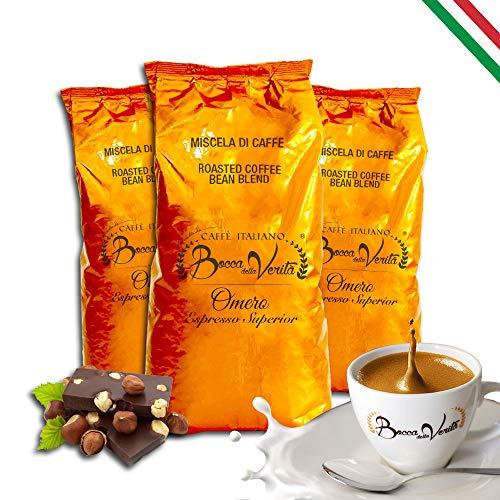 BOCCA DELLA VERITA - Italienische Kaffeebohnen, Aroma OMERO ESPRESSO SUPERIORE, 3 Packungen mit 1 kg, Natürlich und handwerklich gerösteter Kaffee, 100% Made in Italy, Rainforest und UTZ zertifiziert