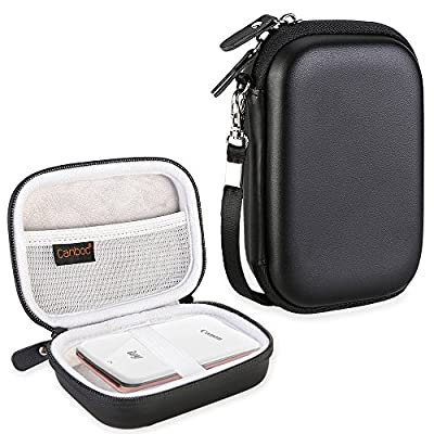 Canboc Hard Carrying Case for Canon Ivy Mobile Mini CLIQ CLIQ+ Instant Camera Printer Wireless Bluetooth Portable Smartphone Photo Printer, Mesh Pocket fit Zink Photo Paper and USB Cable, Black