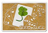 """KIN-HEBI Real Four Leaf Clover, Preserved, Laminated Card, Gold Version, Cutting Picture """"Good Luck & Cards Dices"""", 3.54"""" x 2.36"""""""