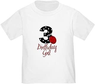 3 Ladybug Birthday Girl T-Shirt Toddler Tshirt