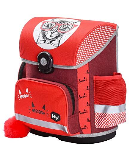 Baagl Schulranzen Mädchen 1. Klasse - Ergonomische Schultasche für Kinder - Grundschule Ranzen - Schulrucksack mit Brustgurt (Cat)