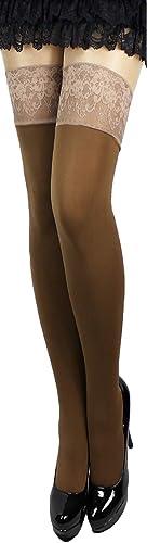 Plus Big Size halterlose Strümpfe Farben breite Spitze blickdicht warm 100 den