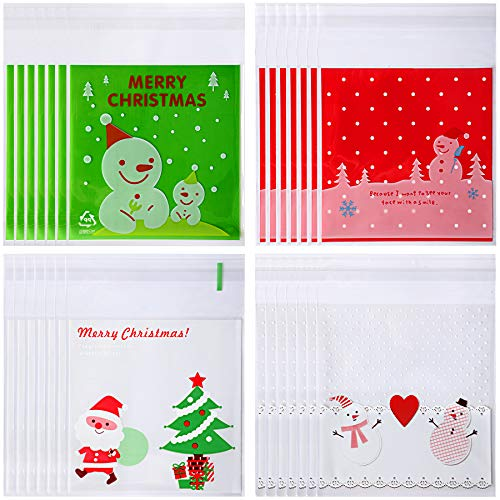 400 PCS Christmas Candy Bags Self-adhesive Bags for Christmas Party Suppliers