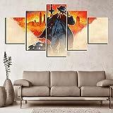 MOXIGE Cartel de Videojuego 5 Piezas Cuadros Decoracion Dormitorios Modernos/para Comedor/Cabeceros de Cama/el BañO/Decoracion Hogar Salon-200 x 100 cm