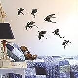 ZTH 3 Sets Creative 3D Dragon Wall Stickers Halloween Living Room Dormitorio Decoración Suministros