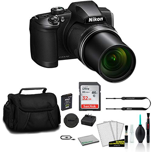 Nikon COOLPIX B600 Point & Shoot 60x Zoom Digital Camera Black 26528 Bundle with 32GB Memory Card + Carrying Case + More