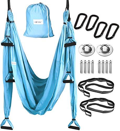 HELIZ Columpio de Yoga Aéreo & Fitness | Juego Completo | Mosquetones de Bordes Lisos | Hamaca Yoga Aéreo para Hogar, Gimnasio, al Aire Libre (Azul)