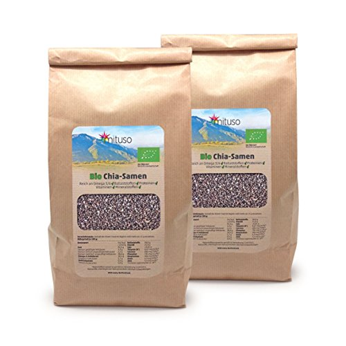 mituso Bio Chia seeds, pack of 2 (2 x 1000g)