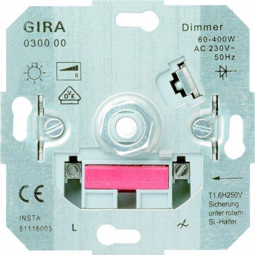 Gira 030000 Glühlampen-Dimm-Einsatz mit Dreh-Ausschalter