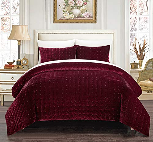 Chic Home Chyna 3 Piece Comforter Set Luxurious Hand Stitched Velvet Bedding - Decorative Pillow Shams Included, Queen, Burgundy