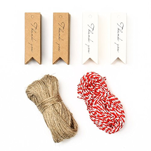 200 Kraftpapier'Thank You' Hängeetiketten mit 30 Meter Jute Twine und 30 Meter Bakers Twine, 7cm ×...