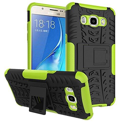 Funda híbrida de doble capa desmontable [Kickstand] 2 en 1 resistente a los golpes, resistente a prueba de golpes, compatible con Samsung Galaxy J7 2016 J710 (color verde)