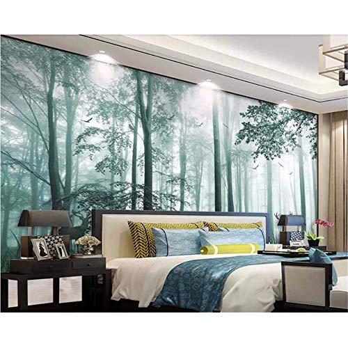 Wuyii fotobehang, natuur, bos, bos, kersenbloesem, hert, muur, slaapkamer, woonkamer, tv-achtergrond, 3D-muurbehang 200 x 140 cm
