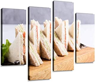 English Tea Sandwiches Platter Canvas Wall Art Hanging Paintings Modern Artwork Abstract Picture Prints Home Decoration Gift Unique Designed Framed 4 Panel