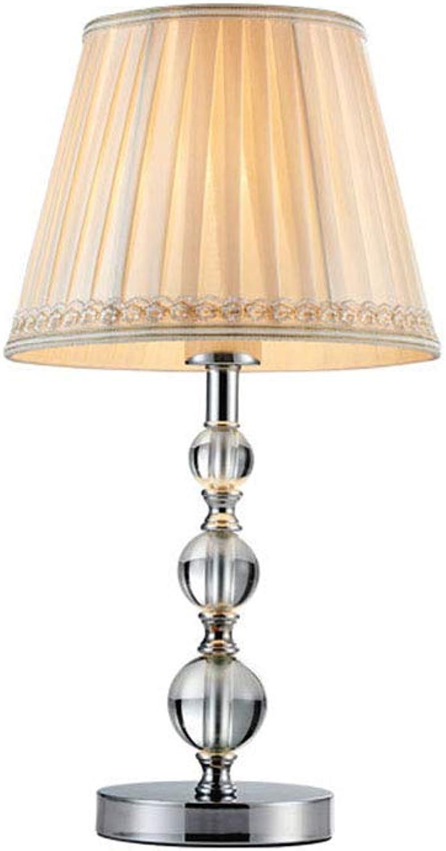 YLGROUP Tischlampe, Einfache Europische Hotel Nachttischlampe Moderne Home Fashion Einfache Stoff Studie Wohnzimmer Retro Kristall Tischlampe, Tischlampe -0125