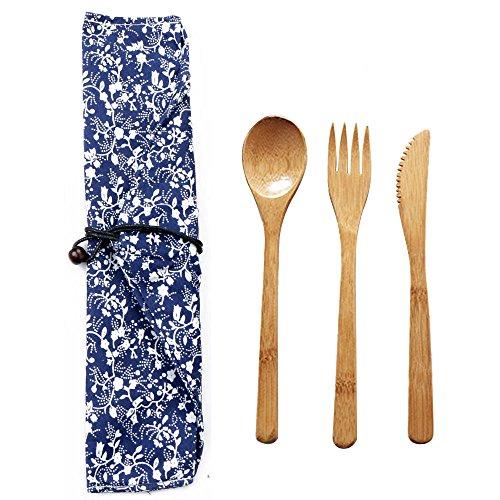 EBILUN - Set di posate da viaggio ecologiche, cucchiaio, forchetta, coltello, forchetta, set da tavola riutilizzabile con borsa per una perfetta sostituzione di posate in plastica, bamboo