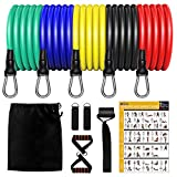 Resistance Bands Set 12 pcs, Home Gym Equipment Men Women, Outdoor/Home Workout Bands with 5 Resistance Tubes, 2 Handles, 2 Ankle Straps, 1 Door Anchor, 1 Carrying Pouch, Workout Guides