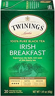 Twinings of London Irish Breakfast Black Tea Bags, 20 Count (Pack of 6)