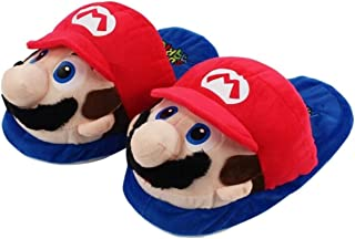Rongzou Super Mario Soft Slippers Winter Indoor Plush Slippers Unisex Warm Home Slippers for Family Red and Blue