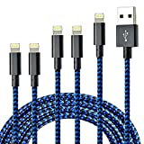 CUGUNU iPhone Charger, 5 Pack 3/3/6/6/10FT Apple MFi Certified USB Lightning Cable Nylon Braided Fast Charging Cord Compatible for iPhone 13/12/11/X/Max/8/7/6/6S/5/5S/SE/Plus/iPad - Black Blue