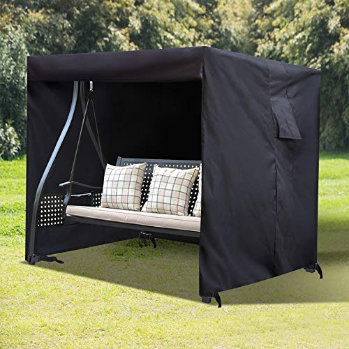 CAMPMOON Outdoor Patio Swing Cover WaterproofampSunshade 3 Triple Seater Hammock Swing Glider Canopy Cover for Garden 87Lx64Wx66H Inch Black