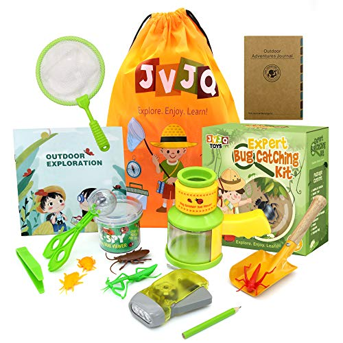 JVJQ Kids Explorer Kit - 16 Pcs Outdoor Exploration Bug Catching kit for Kids Camping Toys Outdoor Toys for Kids Includes, Magnifying Glass Educational Toy Gift for Boys & Girls