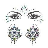 LINVINC Gem Stickers - 2 Hojas Ojos Cuerpo Cara Cofre Festival Música Fiestas Espectáculos Carnaval Maquillaje Glitter Cristal Tatuajes Temporales Pegatinas, Estilo-B