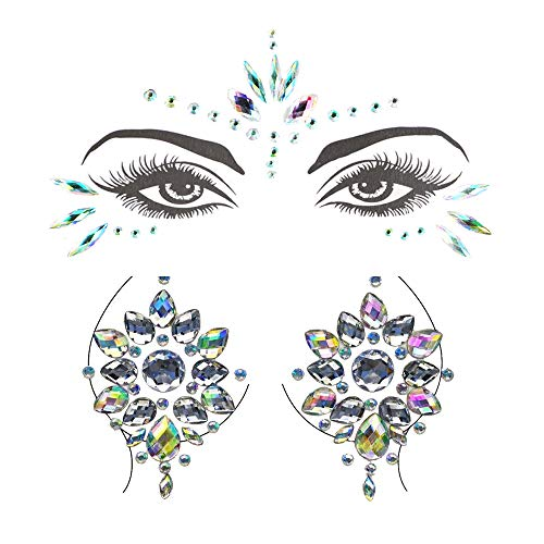 LINVINC Gem Stickers - 2 Hojas Ojos Cuerpo Cara Cofre Festival Música...