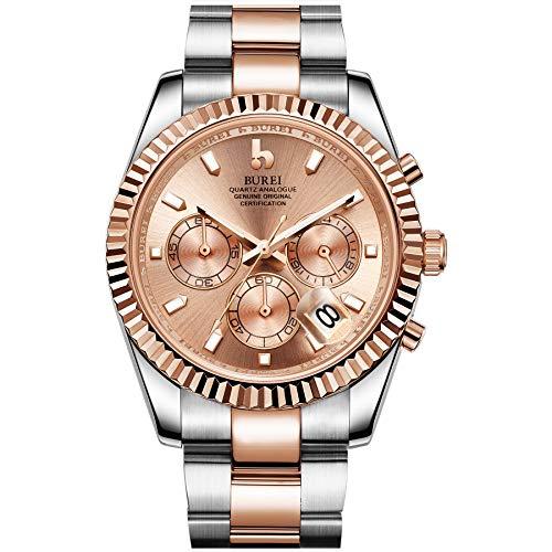 BUREI Herren-Chronographenuhr Datumsanzeige Elegantes Modell Klassisches Design Quarz Analog Japanisches Uhrwerk Synthetisches Saphirglas Edelstahlgehäuse und Armband