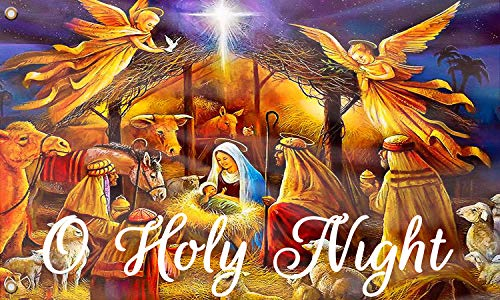 O Holy Night Christmas Flag, Holy Family Xmas Religious Inspired Nativity Banner Flag UV Resistance Fading & Durable Wall Flag with Brass Grommets for Dorm Room Decor,Outdoor,Parties 3x5 Ft