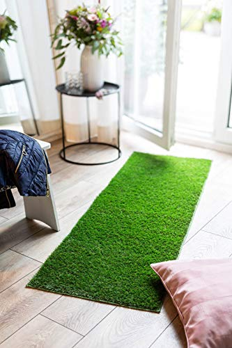 andiamo Teppich Kunstrasen Kuba für die Terasse oder den Garten - erhältlich als Teppich, Läufer und Fußmatte, Farbe:Grün, Größe:50 x 150 cm